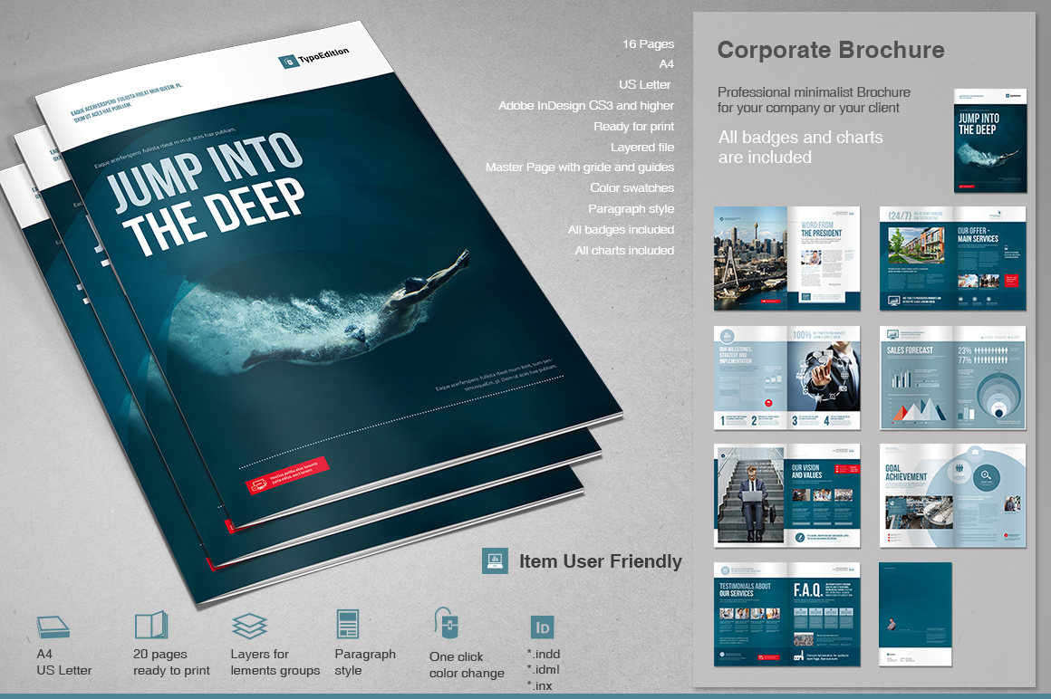 corporate brochure template corporate brochure 2 brochure templates on creative market
