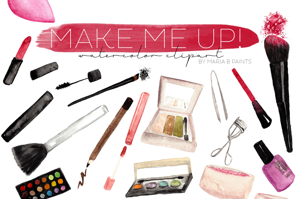 Makeup Clipart - Watercolor Make Up ~ Illustrations On Creative Market
