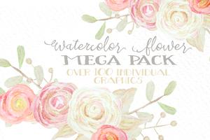 Watercolor Flowers Mega Pack