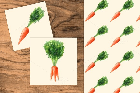 Carrots set. Watercolor +seamless - Illustrations