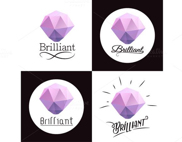 Set Of Logos With Diamond