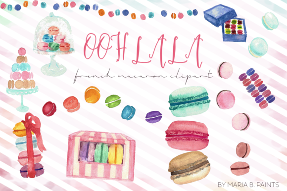 French Macaron Clip Art Watercolor