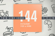 Thin Line Icons for Food & -Graphicriver中文最全的素材分享平台