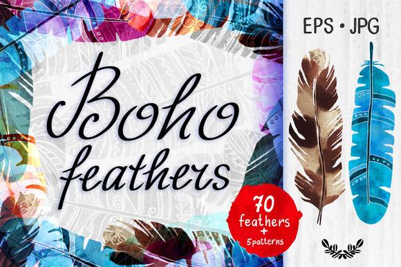 Boho Watercolor Feathers