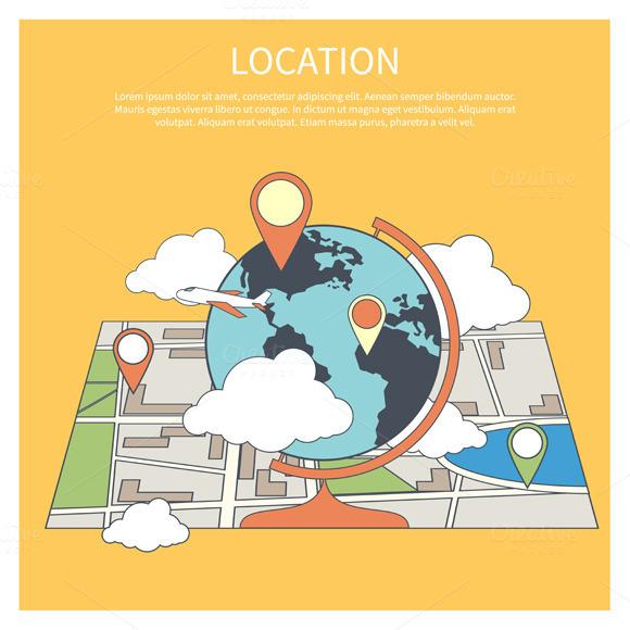 Location Concept World Map