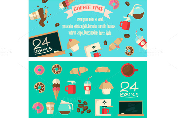 Coffee Time Banner With Icons