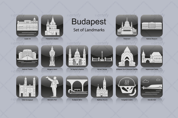 Budapest Landmark Icons