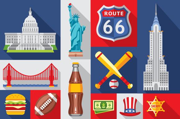 America Flat Icon USA Symbols