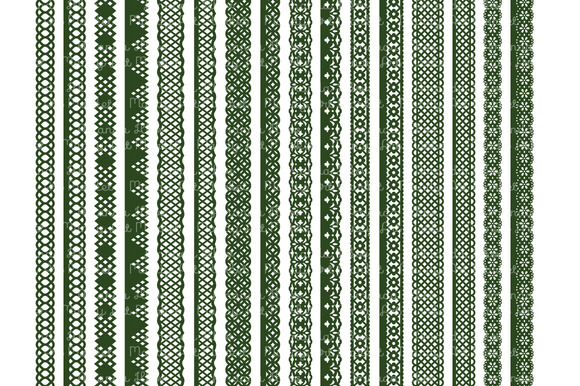 Forest Green Vector Lace Borders
