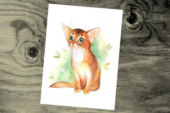 Ginger kitten. Watercolor. - Illustrations