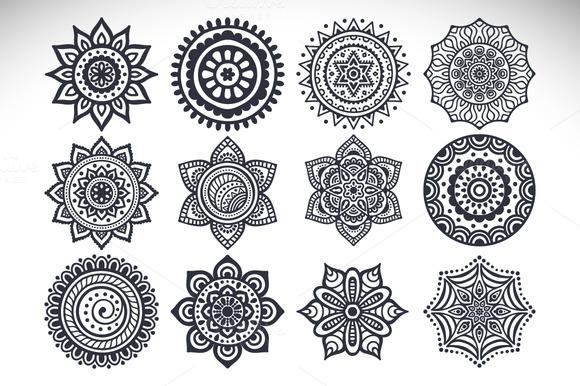 12 Vector Mandalas Seamless Patter