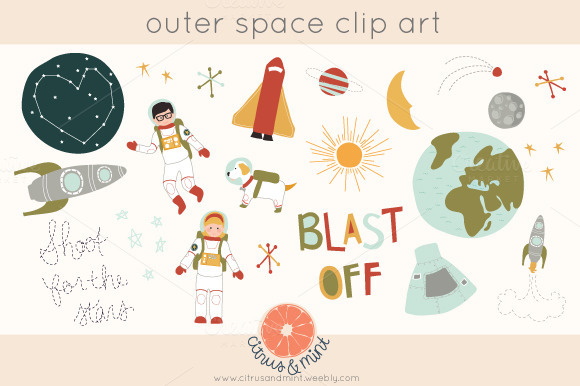 Outer Space Clip Art Illustrations