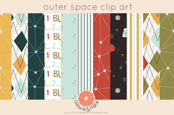Outer space digital paper pack illustrations on creative for Outer space paper
