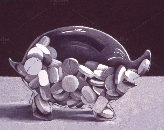 Pill Bank Handmade Illustration