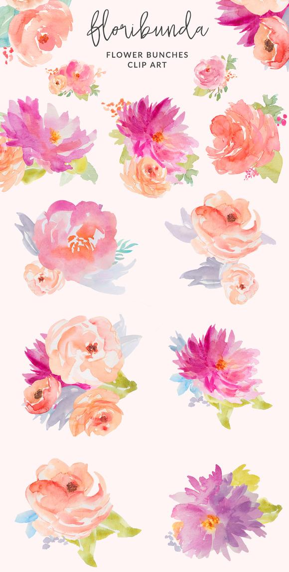 Floribunda Watercolor Flowers