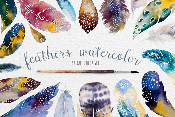 Watercolor feather DIY. BOHO style - Graphics