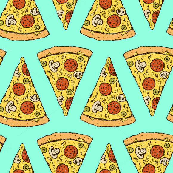Sketch pizza slice in vintage style ~ Patterns on Creative ...