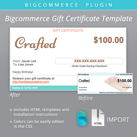 Bigcommerce Gift Certificate Email   Email Templates on Creative IaTyMCic