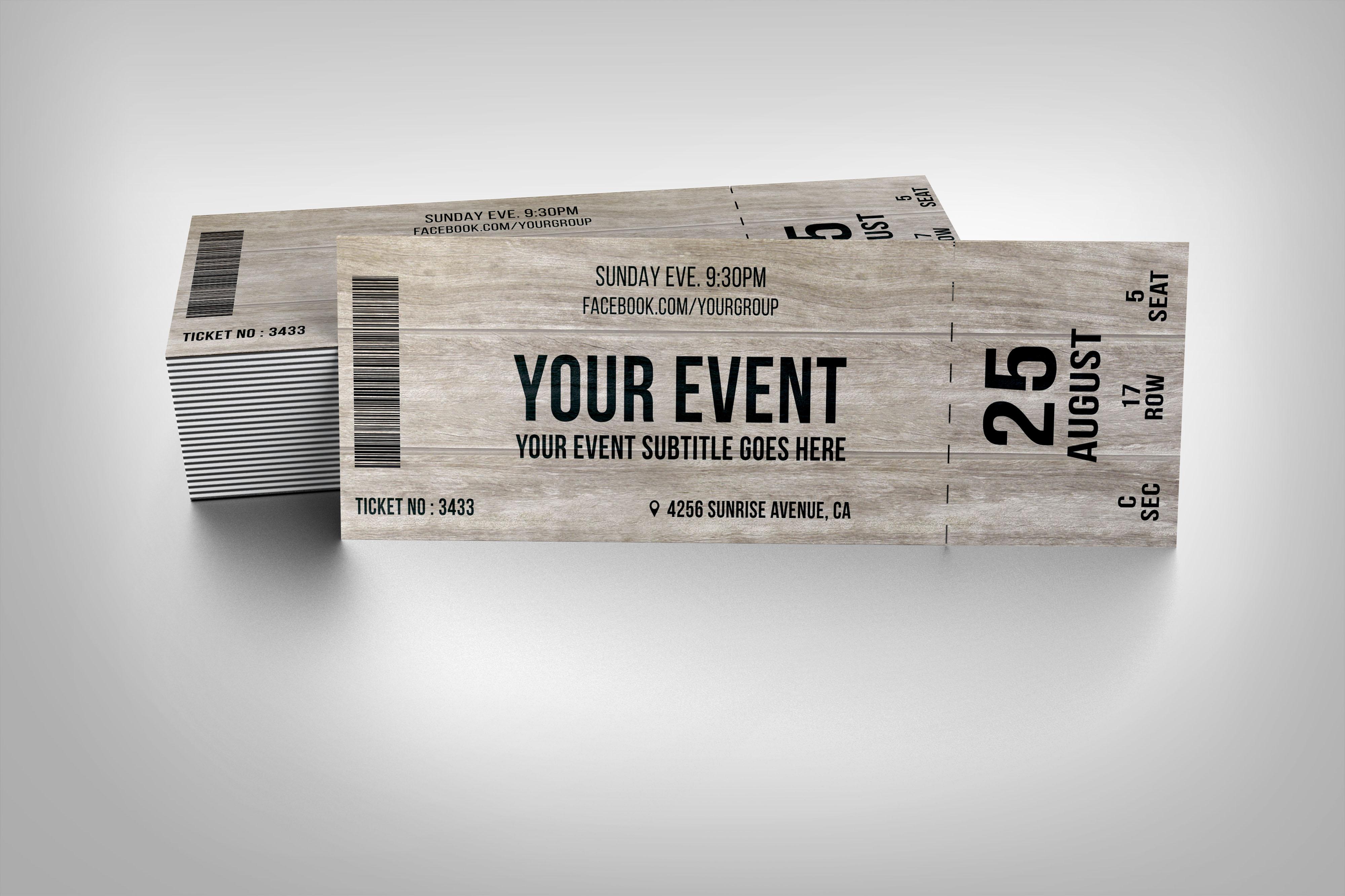 Wooden event ticket ~ Invitation Templates on Creative Market