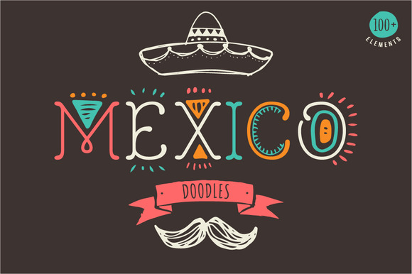 Mexican hand drawn doodles set graphics on creative market for Mexican logos pictures