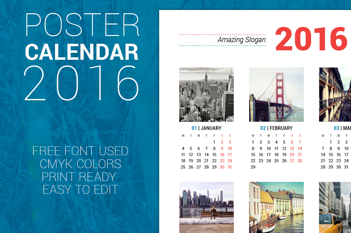 Calendar Poster 2016 : Poster calendar stationery templates on creative market