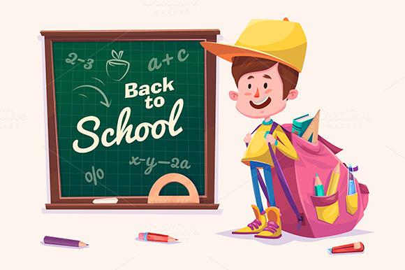 Cute School Children. Vector - Illustrations