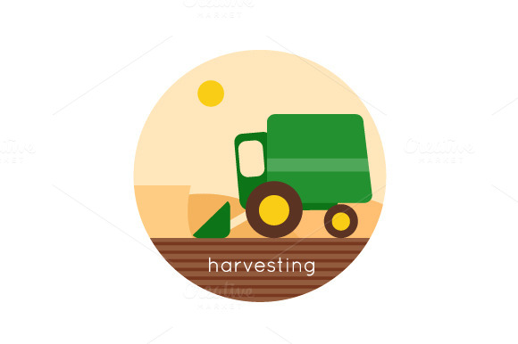 Farm. Harvesting, agriculture. - Illustrations