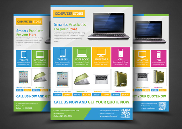 product promotion flyer templates flyer templates on creative market. Black Bedroom Furniture Sets. Home Design Ideas