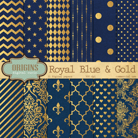 Royal Blue & Gold Digital Paper ~ Textures on Creative Market