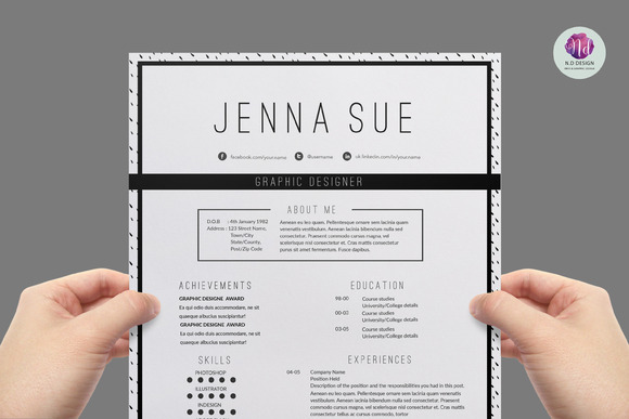 modern chic cv template resume templates on creative marketmodern chic cv