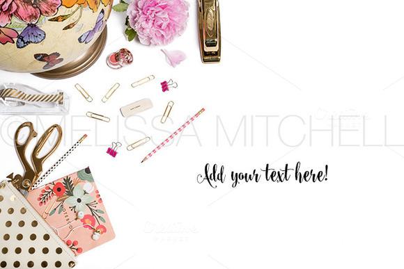 Pink Gold Styled Desktop Mockup#33