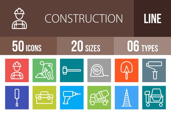50 Construction Multicolor Icons