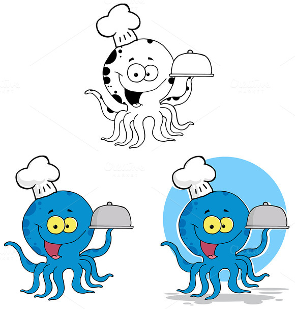 Octopus Chef. Collection Set - Illustrations