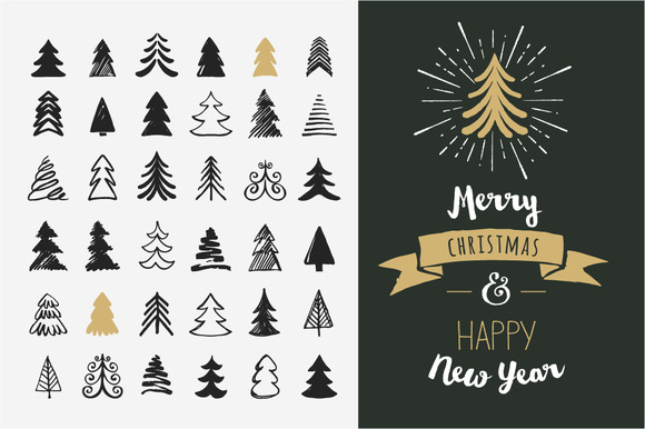 Hand Drawn Christmas Tree Elements