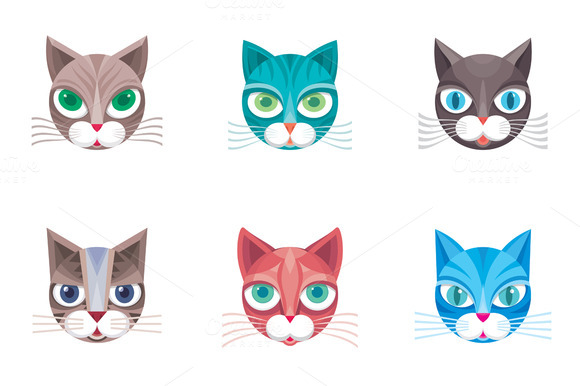 6 Cat Head Vector Illustrations