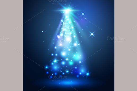 Christmas tree. Magic lights. - Illustrations