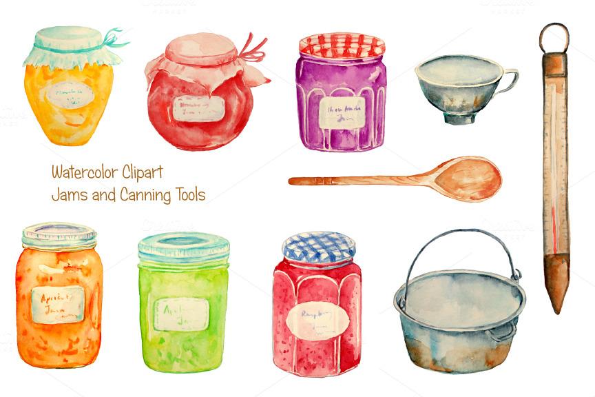 Watercolor Clipart Jam Jar Illustrations On Creative Market