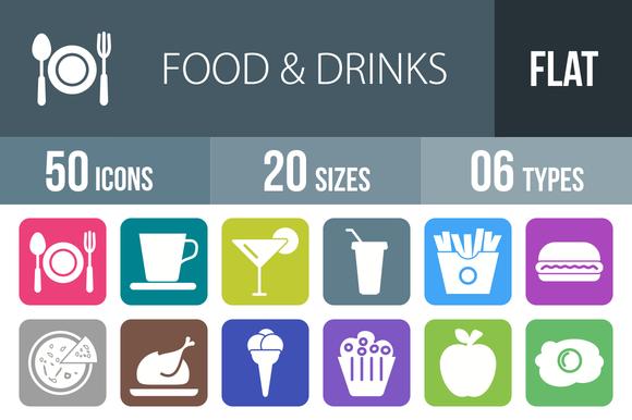 50 Food Drinks Flat Round Corner