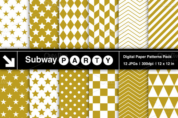Gold White Geometric Patterns
