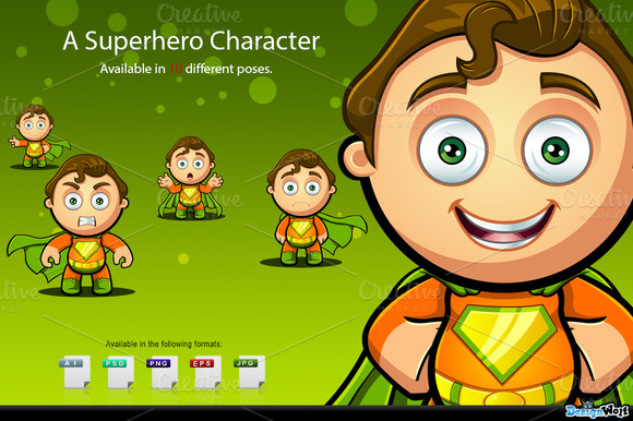 Superhero Character Orange Green