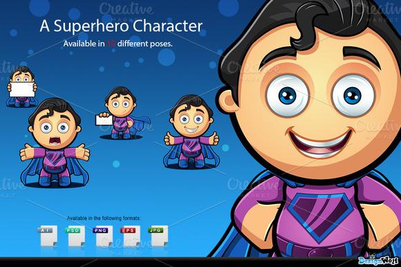 Superhero Character Blue Purple