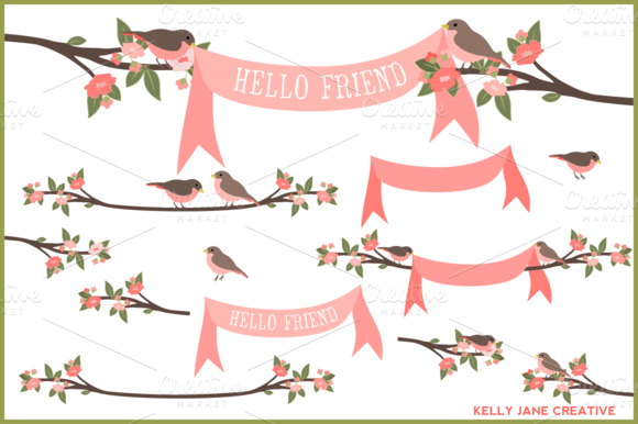 Birds Branches Banners Vector
