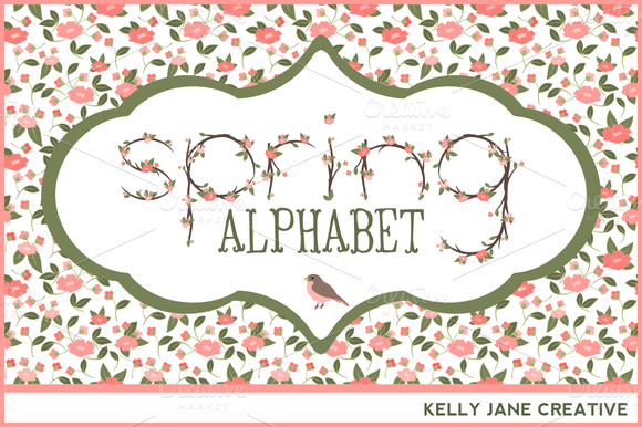 Spring Blossoms Alphabet Vector