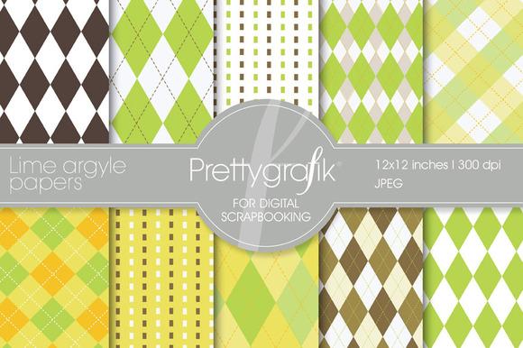 Lime Argyle Digital Paper