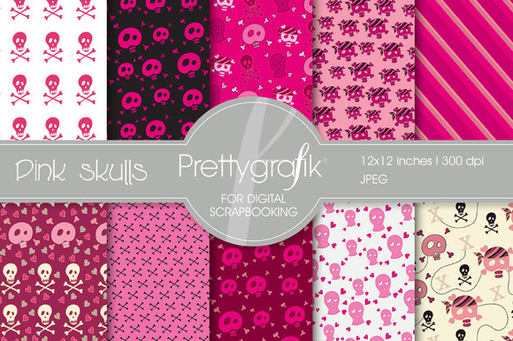 Pink Skulls Digital Paper