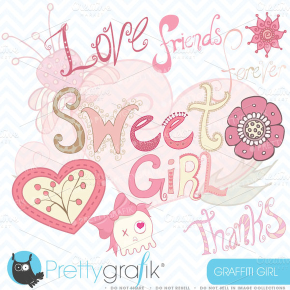 Girl Graffiti Clipart Commercial Use