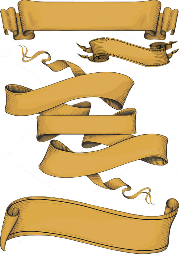 Ribbon Banners Engraving Style