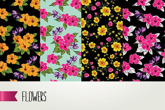 4 Seamless Flower Pattern