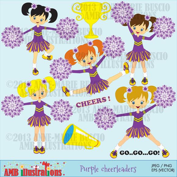 Purple Cheerleaders Clipart