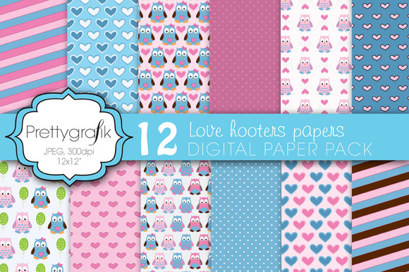 Love Owls Digital Paper Commercial